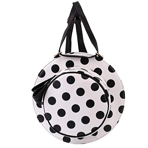Swiftswan ?Creative Cute Hat Shoulder Bag Female Personality Round Bow Shoulder Messenger Bag PU Leather Women Bag White with Black dots