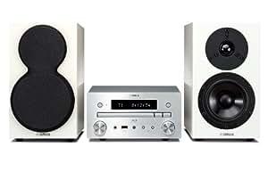 Yamaha MCR-755 - Microcadena de 60 W (2 x 30 W, DVD, HDMI, USB, 3.5 mm), plateado y blanco