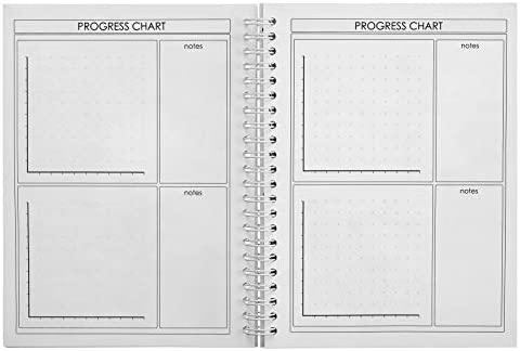 ProFit Fitness and Food Journal - Weight Loss Planner | Workout Log | Diet Notebook | Gym Exercise Diary - Easy-To-Use A5 Fit Book / 6x8 Inches / 140 Pages / Undated 6