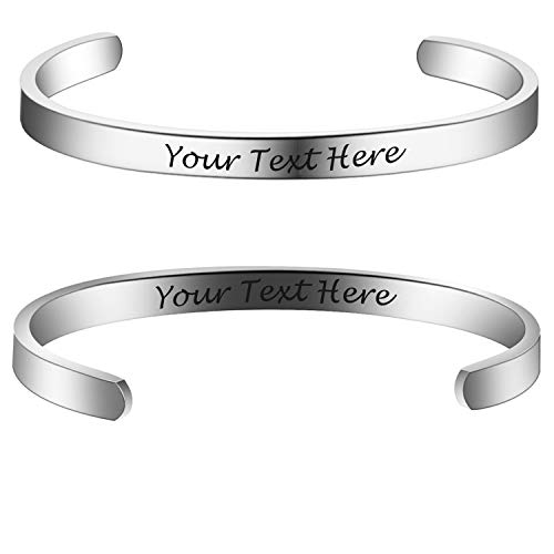 Custom Bangle - 6MM Personalized Inspirational Bracelets Custom Engraved Name Mantra Quote Any Message Bangle Cuff Customizable(Silver Customizable)