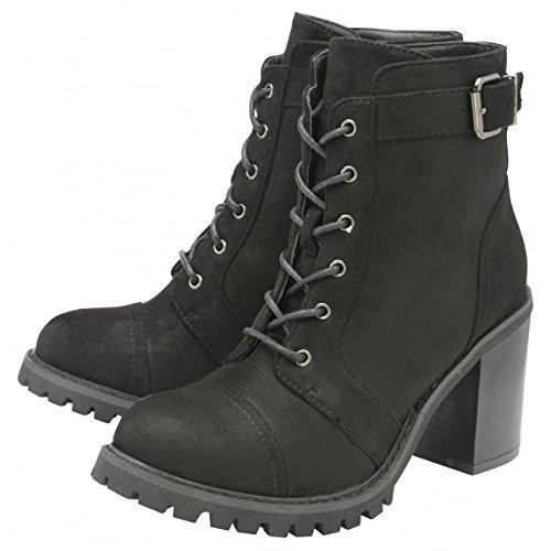 Damen Dolcis schwarz Maude zum Schnüren Militär Memory Foam Reißverschluss Stiefeletten Schuhe Größen 3-8