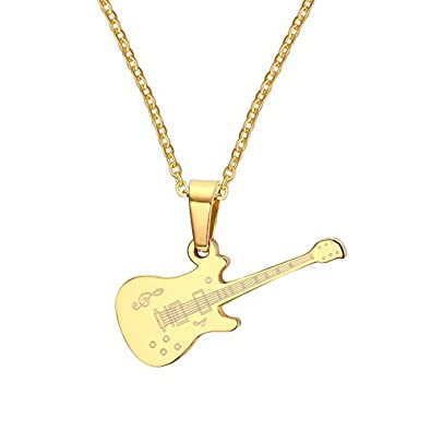 Buy asma gold tone stainless steel musical note guitar pendant asma gold tone stainless steel musical note guitar pendant necklace for womengirls aloadofball Choice Image