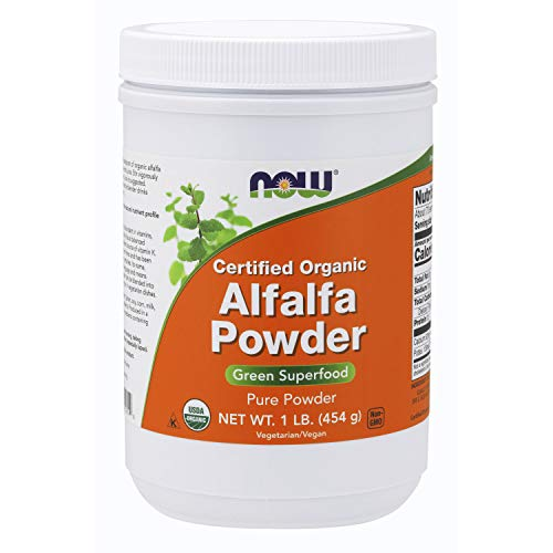 NOW Supplements, Alfalfa Powder, source of Vitamin K, Certified Organic, Green Superfoods, 1-Pound