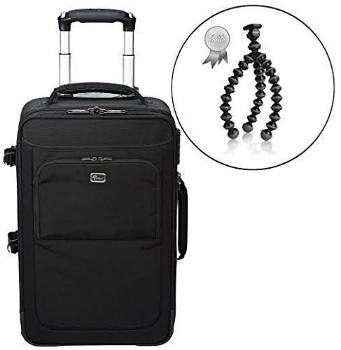 Lowepro Airline Carry-on DSLR and Video Camera Convertible Rolling Backpack with Shock Absorbing Long Lasting Gel Wheels, Build-in TSA Combination Lock. Bonus Tabletop Travel Tripod (Medium) - 17
