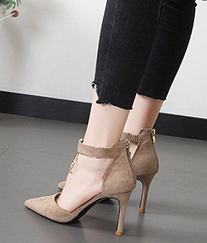 la redonda Metal arena 5cm 8 zapatos zapatos Transpirable zapatos alto elegante Sandalias Hebilla Boca superficial En Con color Sexy los correspondencia Toda la Moda Los multa tacón de punta 37 Ajunr una H6Rw44