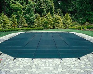 Arctic Armor Mesh Rectangular Safety Cover for 20ft x 40ft In-Ground Pools with 4ft x 8ft CENTER Step Sections- 12 Year Warranty Color: Blue (WS395BU)