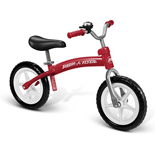 Radio Flyer Kids 12 inch Lightweight Sturdy Steel Frame Glide and Go Balance Bike Sports Ride on Toys Bicycle - Red
