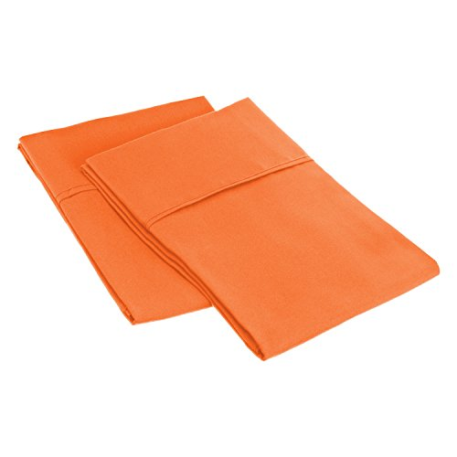 Premium Quality 100% Brushed Soft Microfiber Pillowcase Set of 2, Silky Soft and Luxurious Pillowcases, Wrinkle and Stain Resistant - Standard, Orange (Orange Pillowcase)