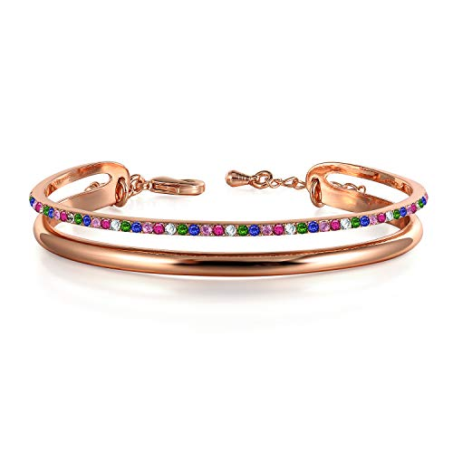 THEHORAE Rose Gold Braclet for Women 'Timeline' Cuff Bangles Jewelry, Crystal from Swarovski ()