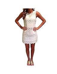 Cinidy Women Summer Sleeveless Lace Crochet Sundress Short Mini Dress