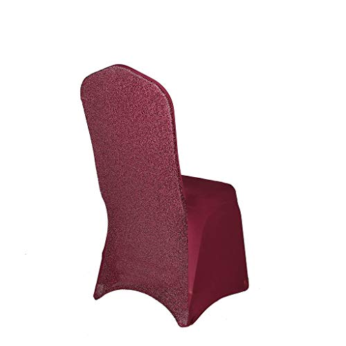 BalsaCircle 25 pcs Burgundy Metallic Spandex Stretchable Banquet Chair Covers Slipcovers for Wedding Party Reception Decorations