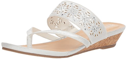 Kenneth Cole REACTION Women's Chime Low Wedge Thong Sandal, White, 9.5 M US
