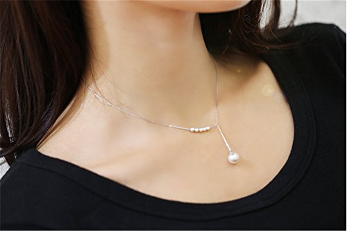 (P.phoebus 18K White Gold Necklace Choker Statement Bib Vintage Pearl Swarovski Crystal Rhinestone Charms Pendant for Women Girls (1))