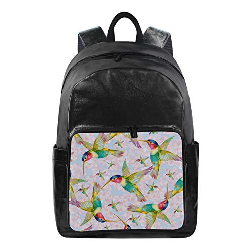 JOYPRINT Waterproof Backpack Floral Flower Bird Hummingbird, Computer Book Bag Daypack for Travel School Camping Sport ()
