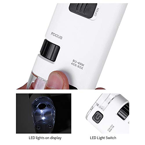 Festnight 80-120X LED Cell Phone Microscope Universal Clip-type Cellphone Microscope Magnifier with LED Lamp Magnifiers Loupe