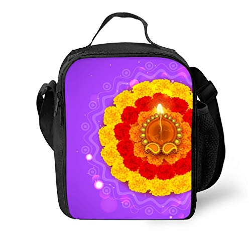 Diwali Flowers Rangoli Reusable Insulated Lunch Tote Bag 10x7.5x3