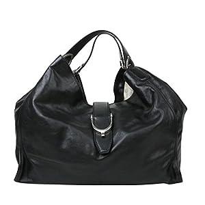Gucci Women's Stirrup Black Calf Leather Large Hobo Bag 100 Handbag 296855 1000