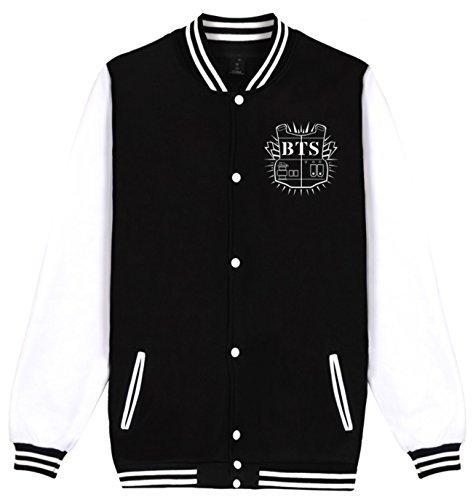 SERAPHY Unisex BTS Kop Hoodies Bangtan Boys BTS Jumper Baseball Jacket Suga Jin JIMIN Jung Kook J-Hope Rap-Monster V Black-95v (Kids Unisex Hooded Jacket)