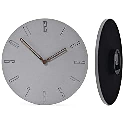 Wallohere Wall Clock Non Ticking Silent Wall Clocks Battery Operated Art Modern Decor Concrete Round Wall Clock with Arabic Numerals 12 Inch for Bathroom Home Office Living Room