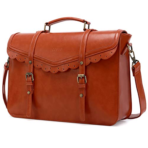 ECOSUSI Briefcase for Women Vegan Leather Laptop Bag 15.6 inch Messenger Bag for School Water Resistant Vintage Satchel Bag Brown