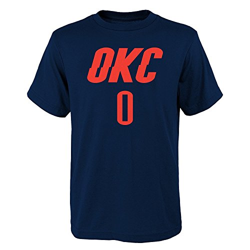 'Russell Westbrook Oklahoma City Thunder #0 NBA Youth Player Name & Number T-Shirt, Navy, Youth Medium (Oklahoma Player)