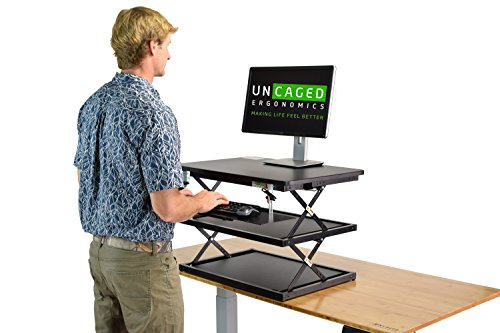 CHANGEdesk 2- Tall Ergonomic Laptop & Desktop Standing Desk Conversion + Height Adjustable Keyboard Tray. Cheap Easy Sit to Stand Up Computer Riser