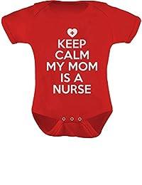 TeeStars - Keep Calm My Mom Is A Nurse Baby Boy Girl Funny Bodysuit Onesie