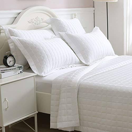 - NATURE FIELD Quilt Coverlet T420, Sateen Weave, 100% Supima Cotton Oversized One Full Bedspread (King, White