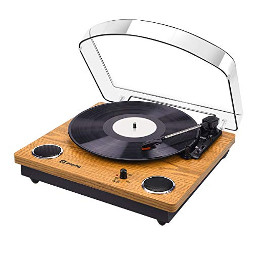 - Record Player, Popsky Vintage Turntable 3-Speed Bluetooth Record Player with Speaker, Portable LP Vinyl Player, Vinyl-to-MP3 Recording, 3.5mm AUX & RCA Jack