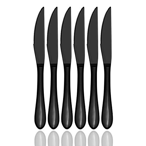 Ultra-Sharp Serrated Steak Knives Cut Cleanly, 6-Piece Silverware Flatware Cutlery Set, Stainless Steel Utensils, Mirror Polished, Dishwasher Safe (Black)