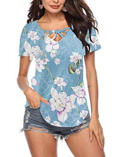 GOCHIC Womens Summer Short Sleeve T Shirts V Neck Tunic Criss Cross Tops Floral Henley Workout Shirts #2Light Blue XL