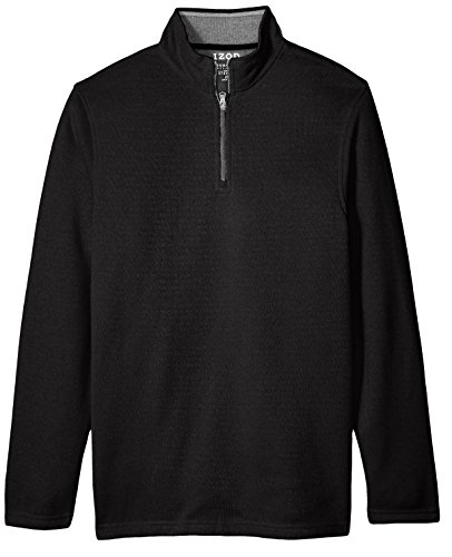 1/4 Zip Pullover Sweater (IZOD Men's Tall Saltwater Solid 1/4 Zip Sweater, Black Heather, 4X-Large Big)