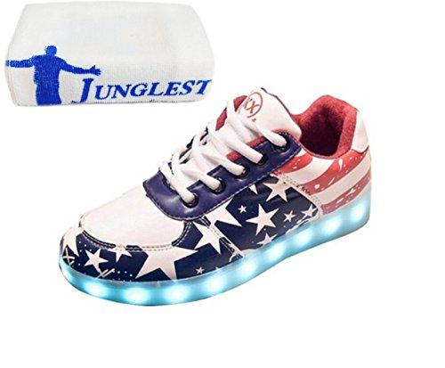 (Present:kleines Handtuch)JUNGLEST® 7 Farben LED Leuchtend Aufladen USB Aufladen Sport Schuhe Star Paare Schuhe Herbst und Winter Sport Schuhe Freizeitschuhe Leucht Laufende Unis Star