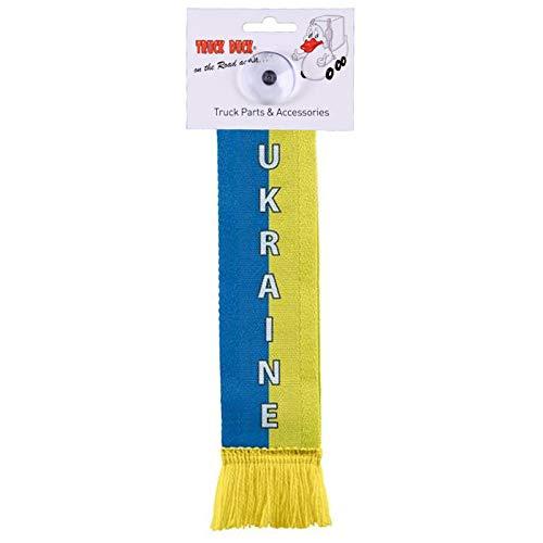 TRUCK DUCK/® LKW Auto Minischal Ukraine Mini Schal Wimpel Fahne Flagge Saugnapf Spiegel Deko