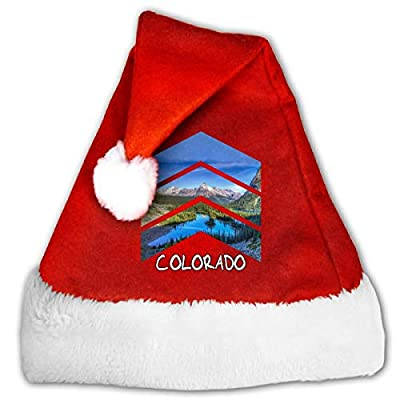 Rocky Mountains Colorado Triangle Unisex-Adult's Santa Hat Christmas Hat with Plush Trim ? Comfort Liner