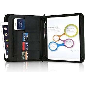 professional business portfolio leather binder padfolio organizer rfid blocking resume holder zippered folder for writing pad card notepad