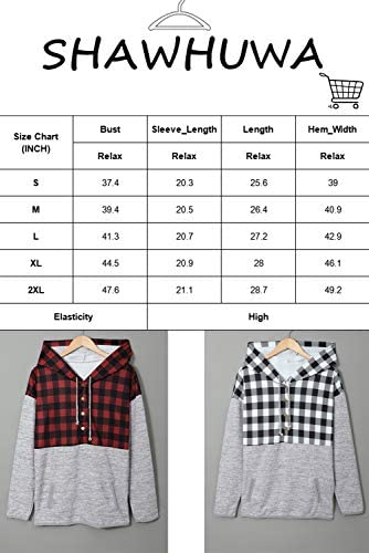Shawhuwa Hoodies for Women Patterned Drawstring Casual Button Collar Hooded Sweatshirts Pullover Tops with Pockets