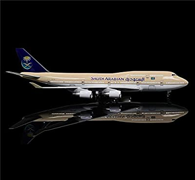 LESES 1:130 Scale LED Light Model Airplane Saudi Arabia Boeing 747 18 inches Resin Display Plane Model