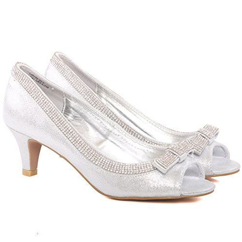 Unze Frauen Bazzle Abend Party Get-Together Soiree Karneval Court Schuhe UK Größe 3-8 - FEE1020-13 Silber