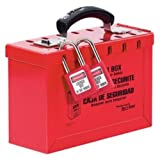 Master Lock Lockout Tagout Lock Box, Latch Tight Portable Group Lock Box, 498A