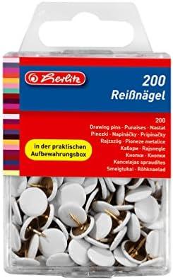Herlitz Reißnagel rund, kunststoffummanteltes Metall, 200 Stück in Hängebox, weiß
