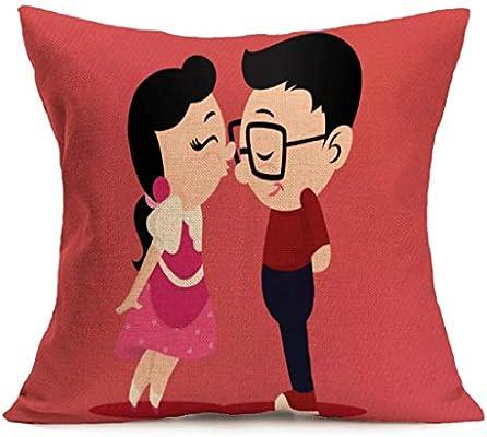 Fundas de Cojines,SHOBDW Regalo de San Valentin Amantes Que pintan ...