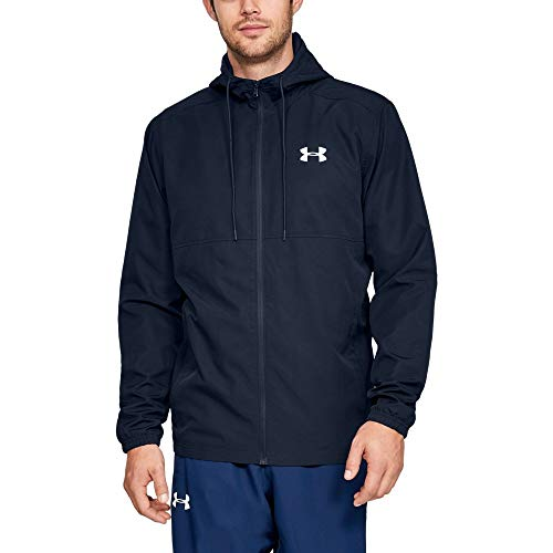 (Under Armour Men's Sportstyle Woven Full Zip Hoodie, Academy (409)/Academy, Medium)