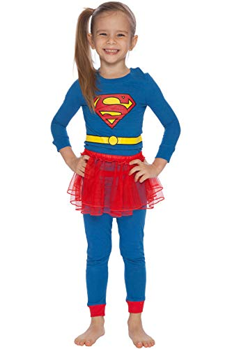 (DC Comics Girls' Toddler Tutu Pajamas, Blue, 4T)