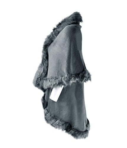ZLYC Women Fine Knit Open Front Faux Fur Trim Layers Poncho Cape Cardigan Sweater (Gray) by ZLYC (Image #2)