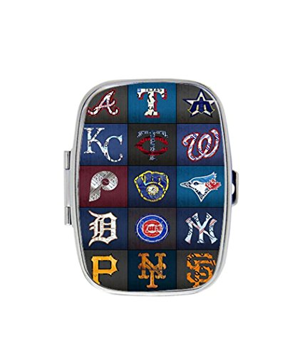 Art Plates Baseballs (Play Ball Recycled Vintage Baseball Team Logo License Plate Art Custom Fashion Square Pill Box Medicine Tablet Holder Organizer Case for Pocket or Purse)