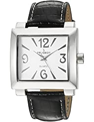 Peugeot Womens 706BK Silver-Tone Black Leather Strap Watch