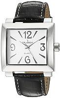 Peugeot Women's 706BK Silver-Tone Black Leather Strap Watch