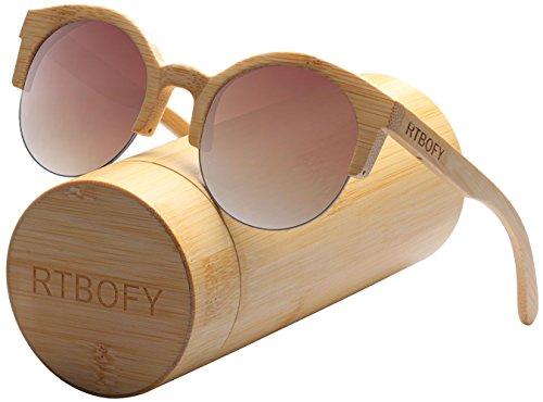 Wood Semi Rimless Retro Design Clubmaster Sunglasses for Women/Men - Light Clubmaster Ray