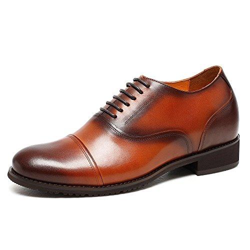 CHAMARIPA Chaussure Rehaussante en Cuire de Maron Homme Pour Ceremonie Officielle 7,5 CM